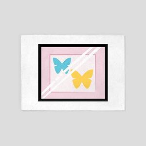 Framed Butterflies 5'x7'Area Rug