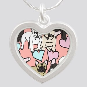 French Bulldogs Silver Heart Necklace