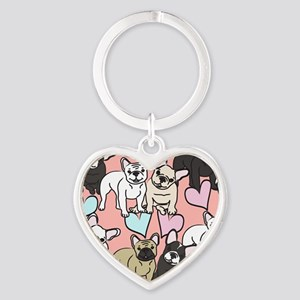 French Bulldogs Heart Keychain