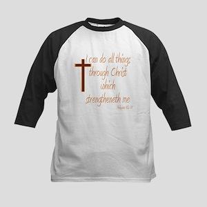 Philippians 4 13 Brown Cross Baseball Jersey