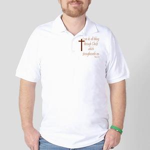 Philippians 4 13 Brown Cross Golf Shirt