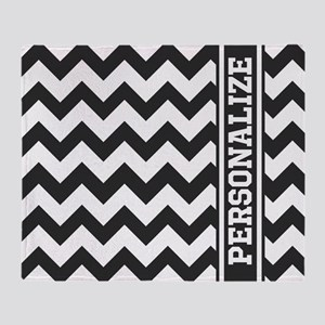 Personalized Black and White Chevron Pattern Throw