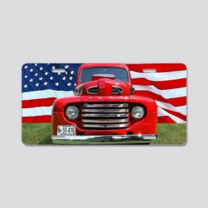 1948 Red Ford Truck USA Fla Aluminum License Plate