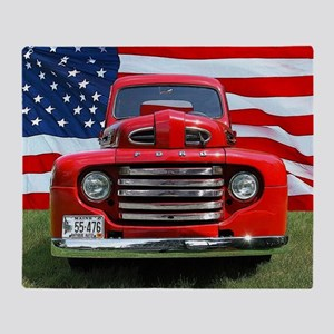 1948 Red Ford Truck USA Flag Throw Blanket