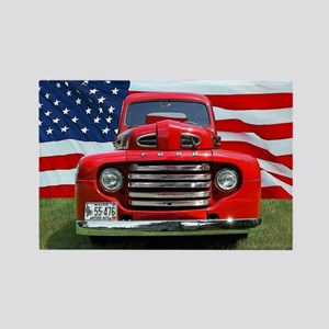 1948 Red Ford Truck USA Flag Rectangle Magnet