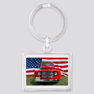1948 Red Ford Truck USA Flag Landscape Keychain