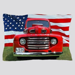 1948 Red Ford Truck USA Flag Pillow Case
