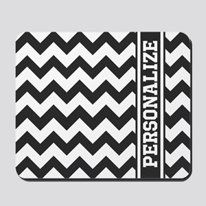 Personalized Black and White Chevron Pattern Mouse