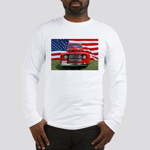 1948 Red Ford Truck USA Flag Long Sleeve T-Shirt