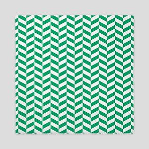 Jade Green Herringbone Pattern Design Queen Duvet