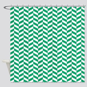 Jade Green Herringbone Pattern Design Shower Curta