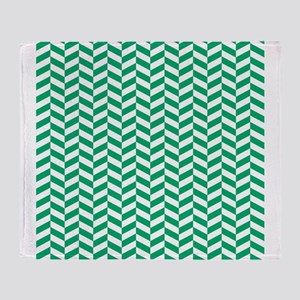 Jade Green Herringbone Pattern Design Throw Blanke