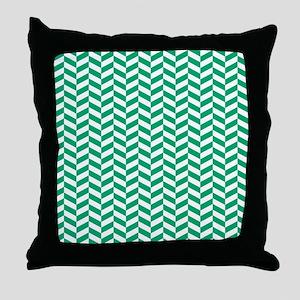 Jade Green Herringbone Pattern Design Throw Pillow