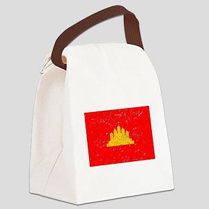 Kampuchea Flag (Distressed) Canvas Lunch Bag