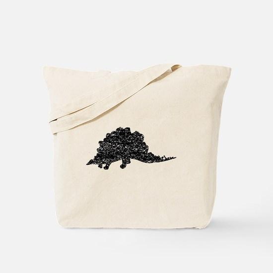 Distressed Stegosaurus Silhouette Tote Bag