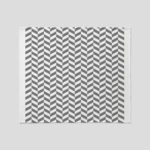 Grey Herringbone Pattern Design Throw Blanket