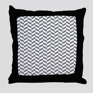 Grey Herringbone Pattern Design Throw Pillow
