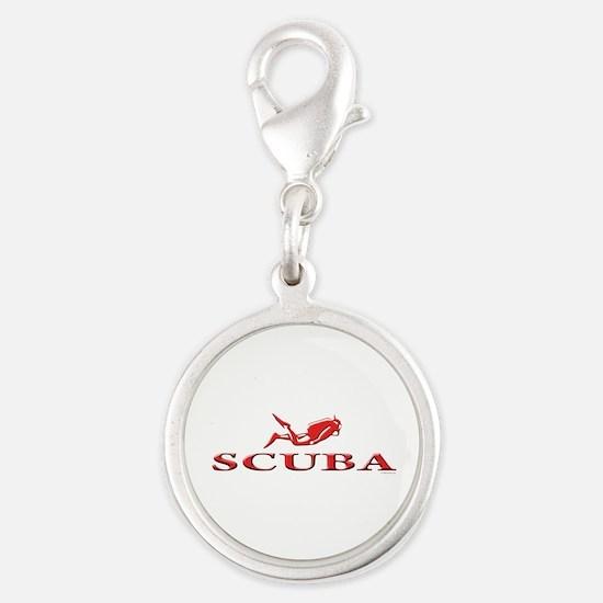 SCUBA Dive Silver Round Charm