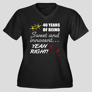 Cute 40th Bi Women's Plus Size V-Neck Dark T-Shirt