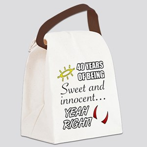 Cute 40th Birthday Humor Canvas Lunch Bag