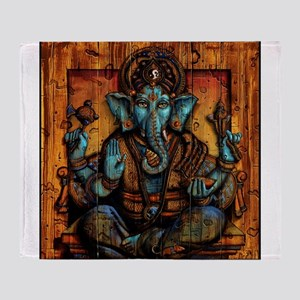 Blue Ganesha Throw Blanket
