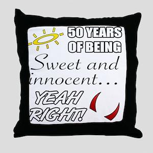 Cute 50th Birthday Humor Throw Pillow
