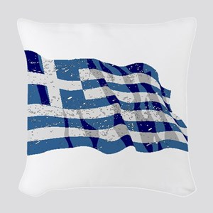 Greece Flag (Distressed) Woven Throw Pillow