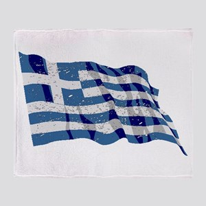 Greece Flag (Distressed) Throw Blanket