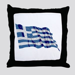 Greece Flag (Distressed) Throw Pillow