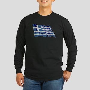 Greece Flag (Distressed) Long Sleeve T-Shirt