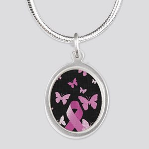 Pink Awareness Ribbon Silver Oval Necklace