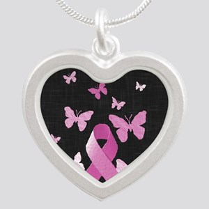 Pink Awareness Ribbon Silver Heart Necklace