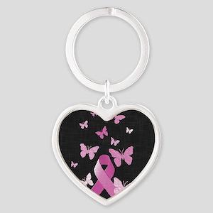 Pink Awareness Ribbon Heart Keychain