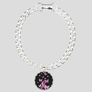 Pink Awareness Ribbon Charm Bracelet, One Charm