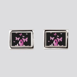 Pink Awareness Ribbon Rectangular Cufflinks