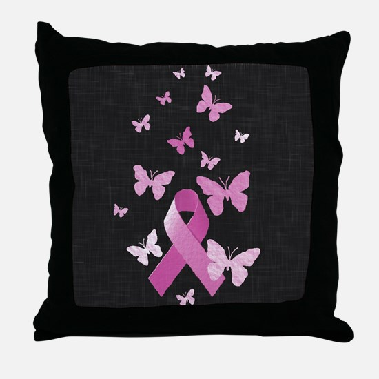 Pink Awareness Ribbon Throw Pillow