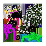 Black Cats Family Tile Coaster