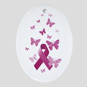 Pink Awareness Ribbon Ornament (Oval)