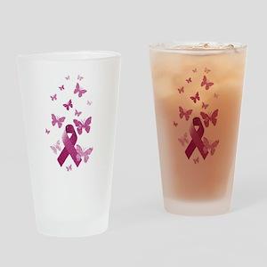 Pink Awareness Ribbon Drinking Glass