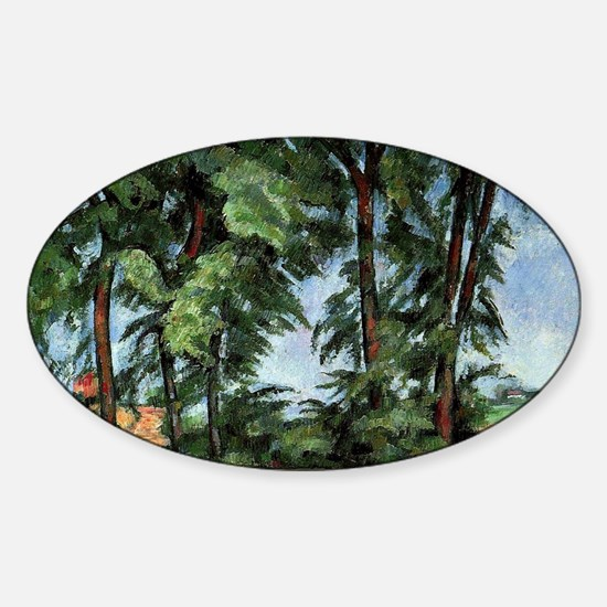 Cezanne - Tall Trees at the Jas de  Sticker (Oval)