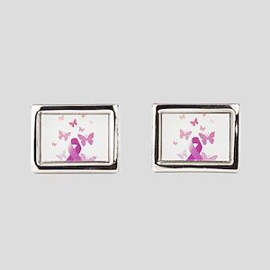 Pink Awareness Ribbon Rectangular Cufflinks