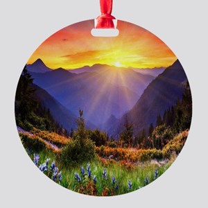Country Sunrise Round Ornament