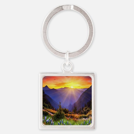 Country Sunrise Square Keychain