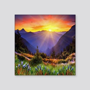 "Country Sunrise Square Sticker 3"" x 3"""