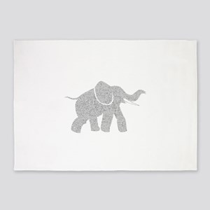 Distressed Grey Baby Elephant 5'x7'Area Rug