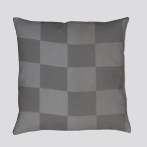 Gray Checkered Flag Everyday Pillow