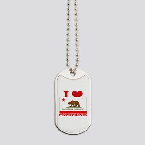 I Love California Dog Tags