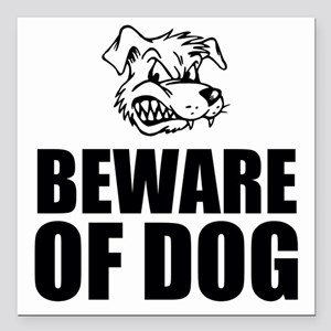 "Beware of Dog Square Car Magnet 3"" x 3"""