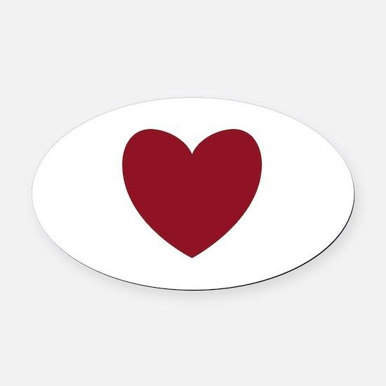 MAROON Heart 13 Oval Car Magnet