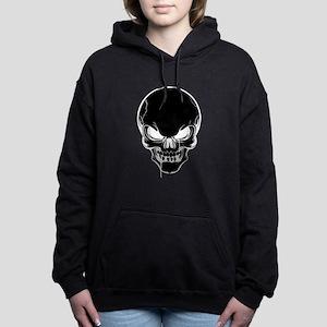 Black Skull Design Women's Hooded Sweatshirt